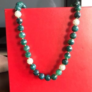 "Jewelry - 15"" Necklace Real Jade stones with gold plate .NW"